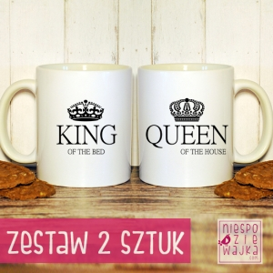 "Garnuszki ""King of the bed/Queen of the house"" komplet 2szt"