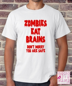 "Koszulka ""Zombies eat brains"" na Halloween"